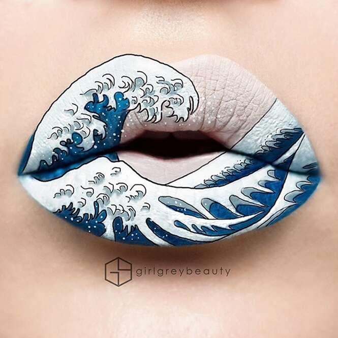 Maquiadora cria obras de arte em seus lábios