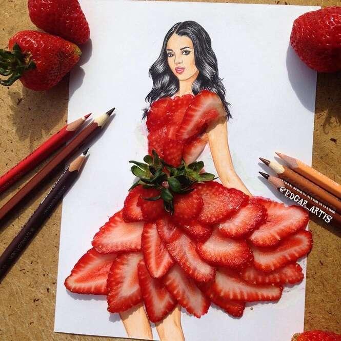 Artista desenha vestidos de festa com ajuda de objetos incomuns