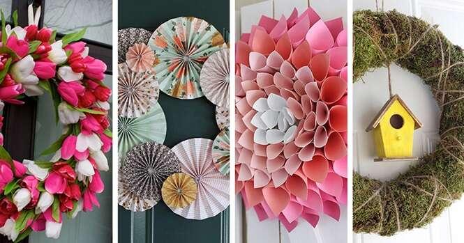 Ideias de guirlandas inspiradas em flores para decorar a porta de sua casa