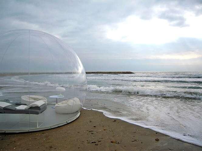 Bolha transparente permite que você durma sob as estrelas