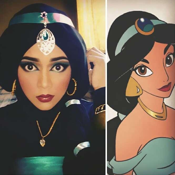 Mulher usa maquiagens e véu islâmico para se transformar nas princesas da Disney