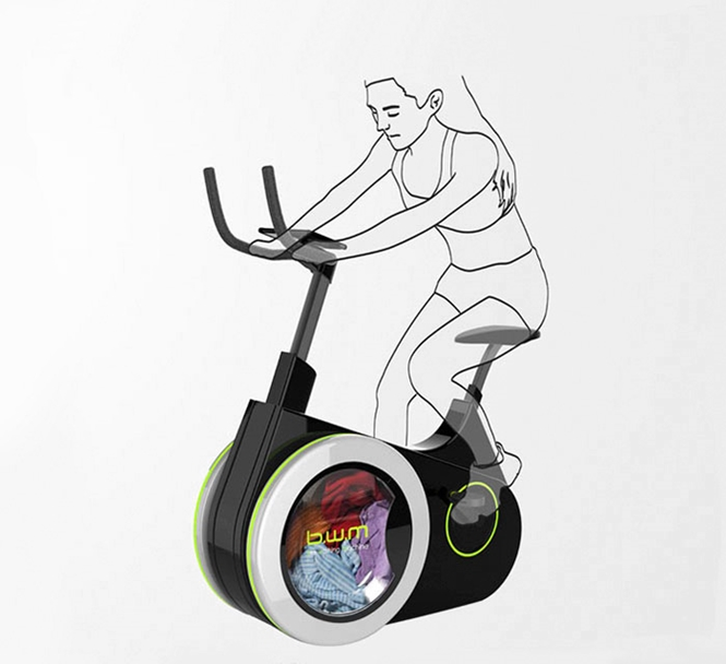 Bicicleta ergométrica funciona como máquina de lavar roupas