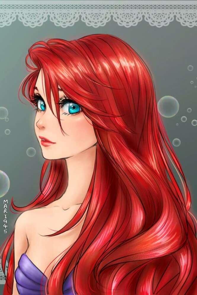 Ilustradora recria princesas da Disney com características de animes