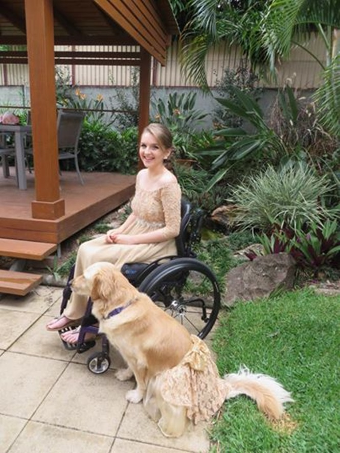 Menina cadeirante veste seu amado cão de serviço como ela para ir a baile do colégio