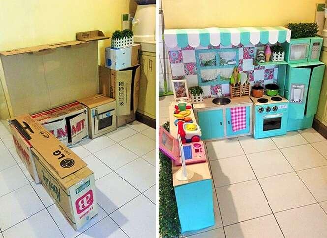 Mãe cria mini-cozinha de brinquedo feita de papelão