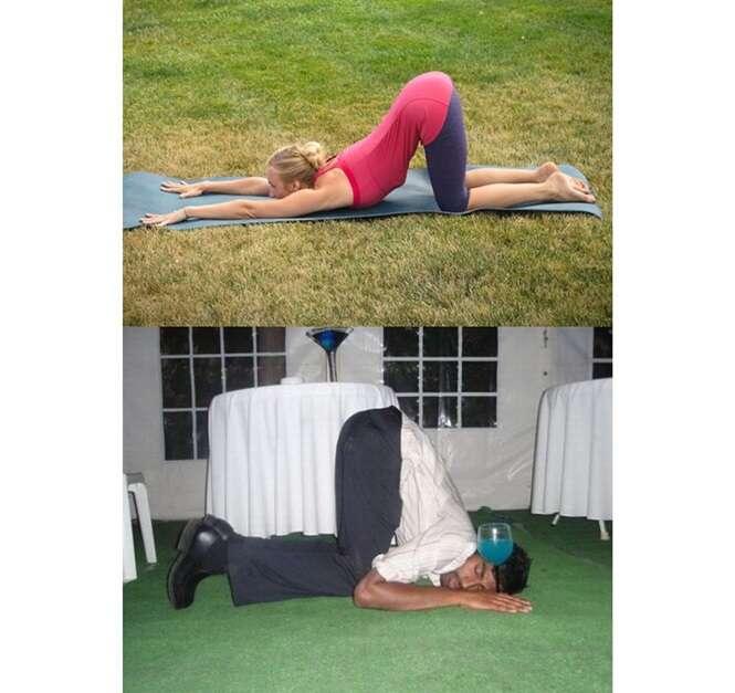 Bêbados que nasceram para praticar yoga