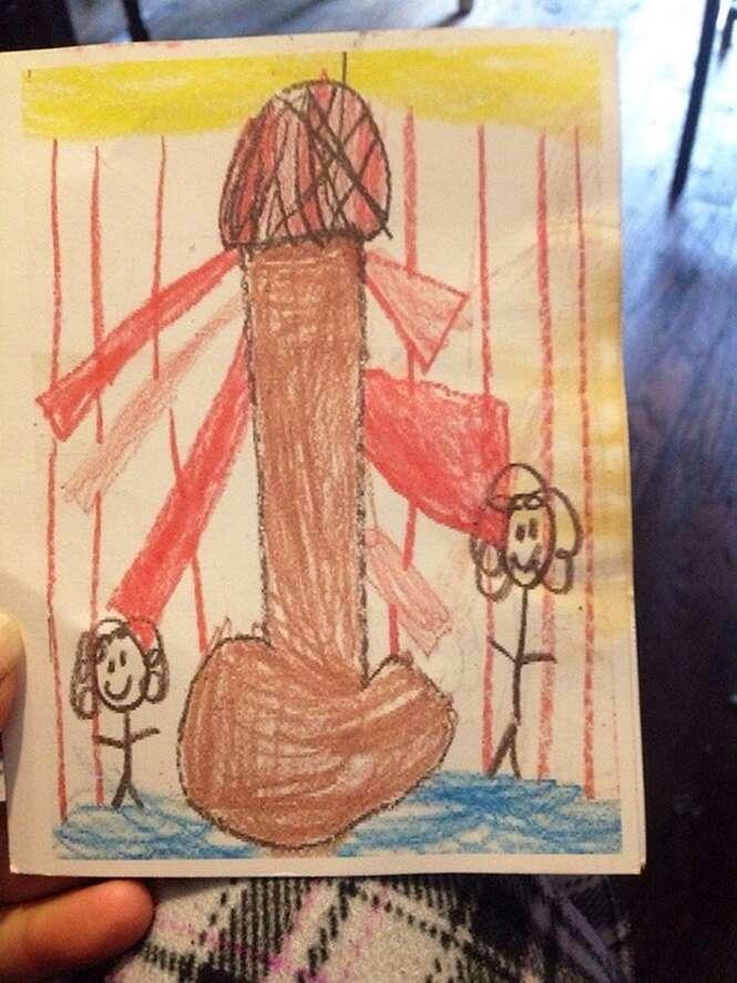 Desenhos inocentes feitos por crianças que vão chocar quem tem a mente poluída