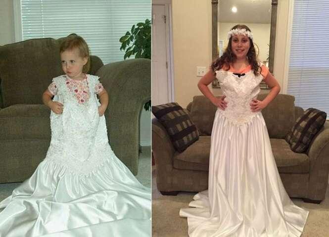 Mãe registra crescimento de sua filha com a ajuda de seu vestido de noiva