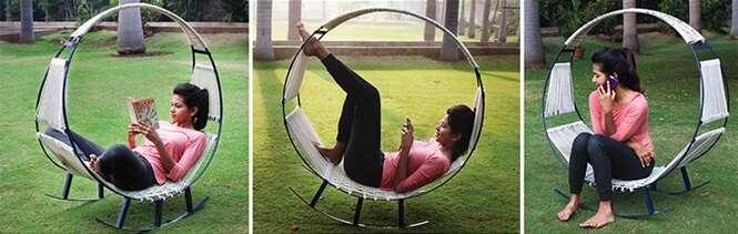 Estudantes projetam produto que funciona como rede de descanso e cadeira de balanço