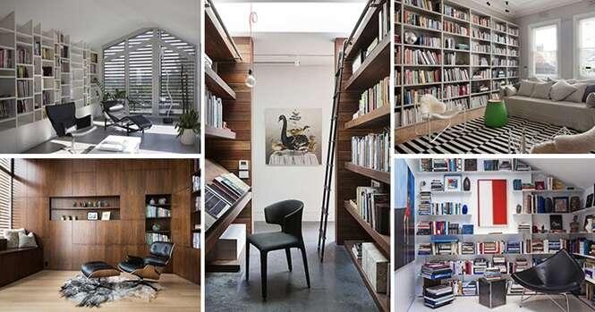 Exemplos de quartos de leitura para os amantes de livros