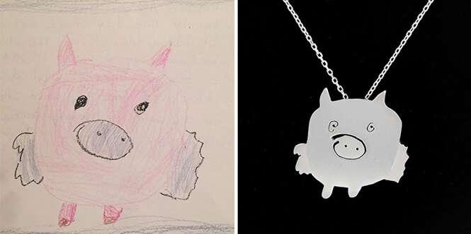 Artista transforma desenhos de crianças em pingentes de prata