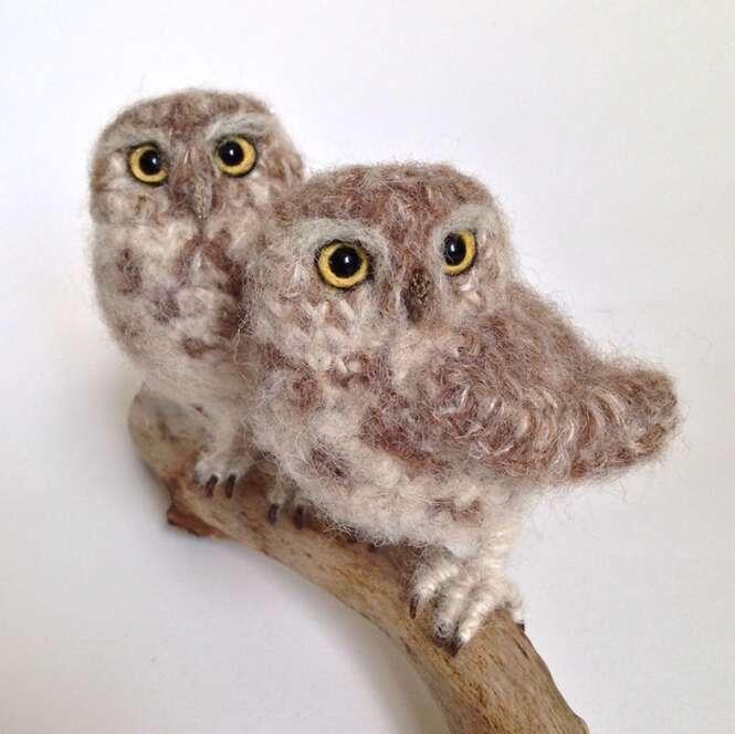 Artista recria pássaros feitos de lã
