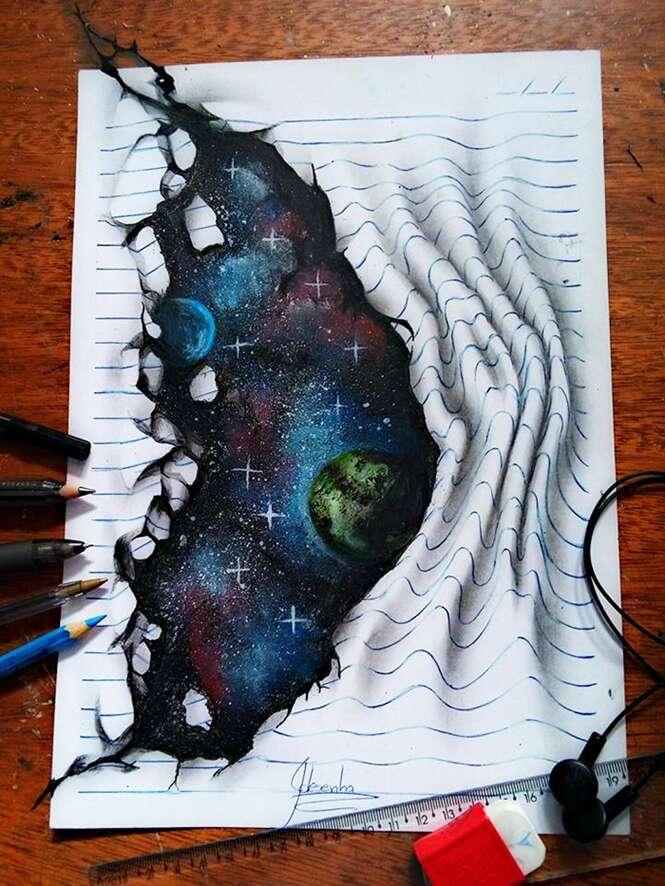 Brasileiro de 16 anos chama atenção com desenhos em 3D que parecem saltar da folha