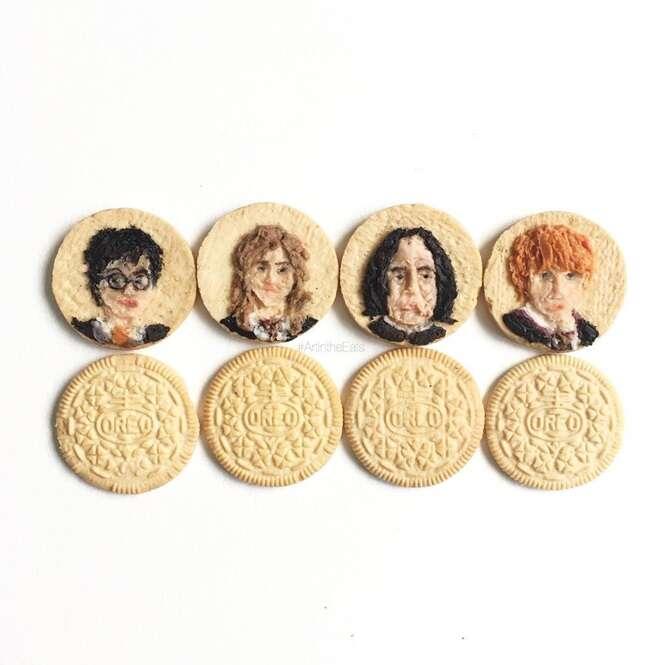Americana cria arte em recheios de biscoito
