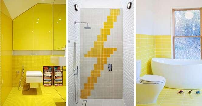 Inspirações em amarelo para seu banheiro