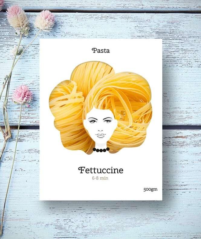 Designer cria embalagens criativas de macarrão inspiradas em cabelos femininos