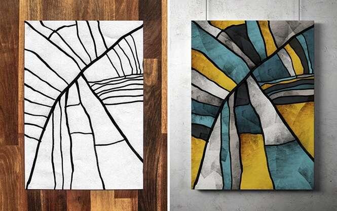Pai cria arte moderna com ajuda do filho