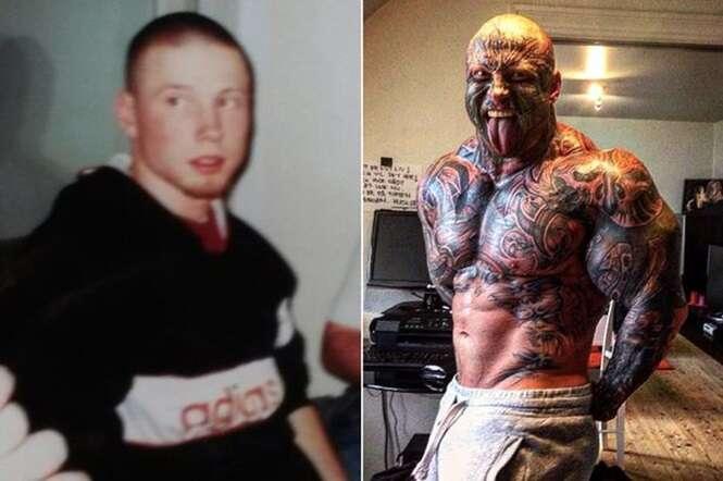 Adolescente problemático se transforma em fisiculturista com mais de 40 tatuagens pelo corpo