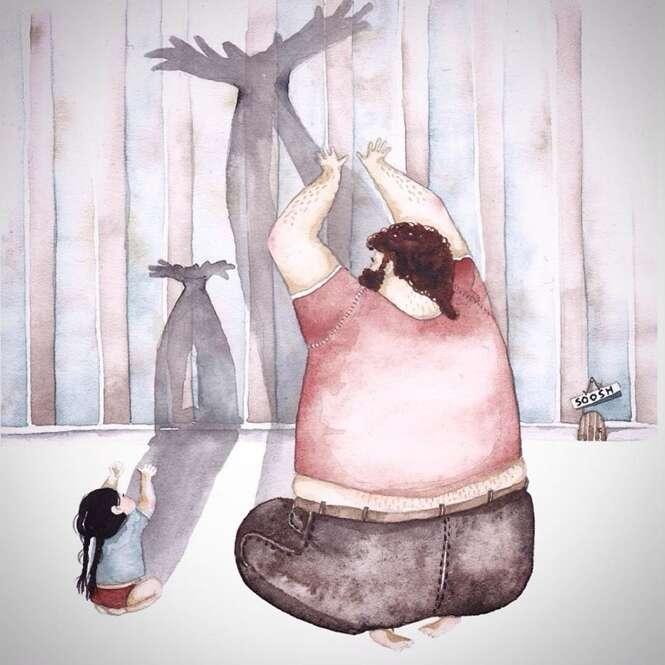 Série de ilustrações mostra o amor dos pais para com seus filhos