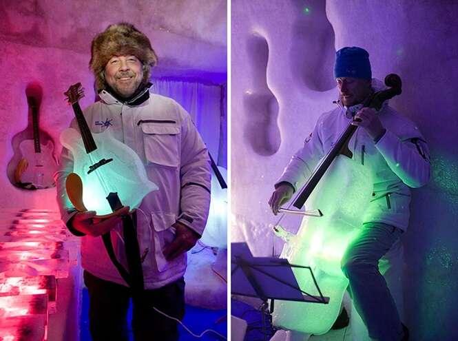 Artista cria instrumentos musicais feitos de gelo
