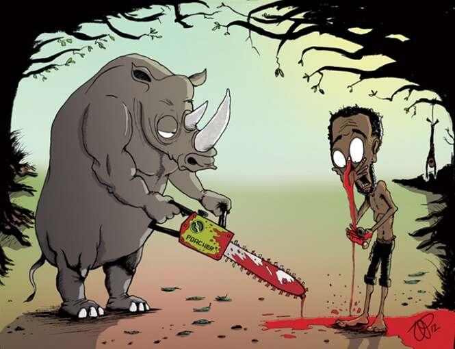 Ilustrações chocantes trocando animais com humanos