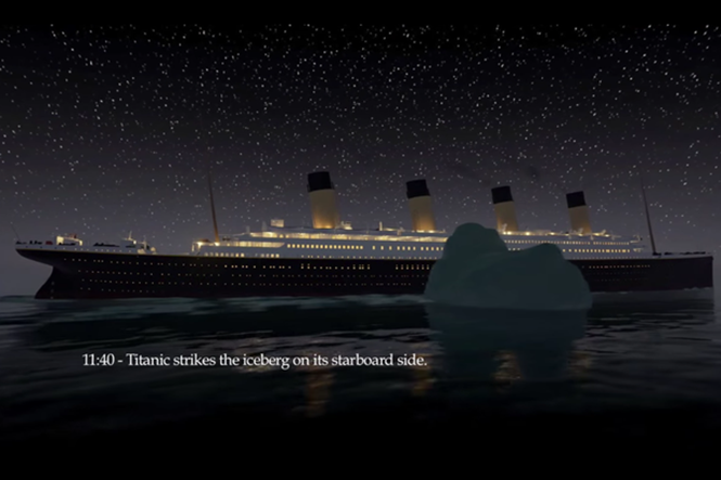 Animação permite reviver naufrágio do Titanic