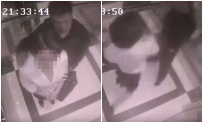Pervertido tenta se aproveitar de mulher em elevador e acaba levando surra