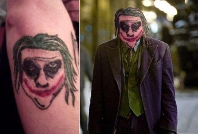 Tatuagens ruins colocadas no lugar de suas inspirações