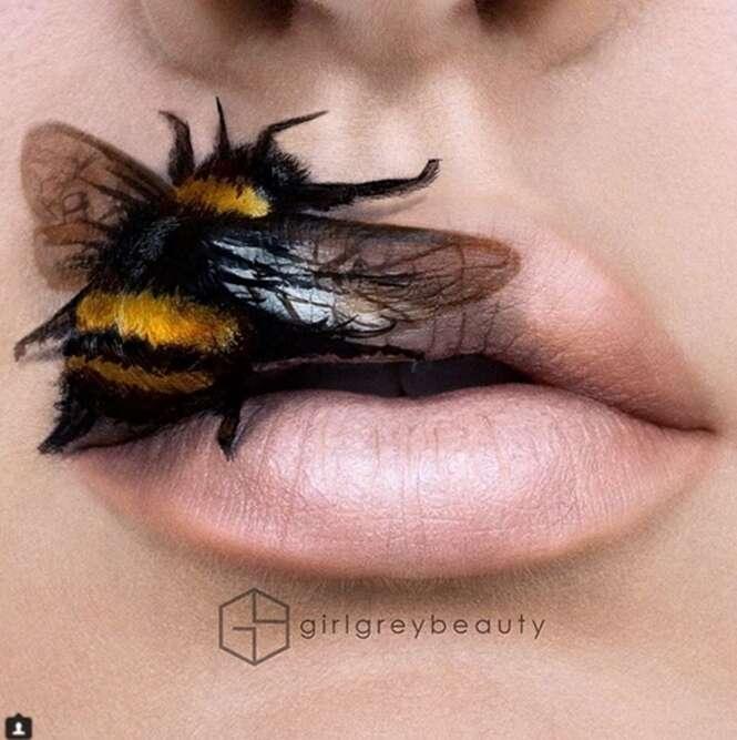 Maquiadora cria trabalhos incríveis nos lábios