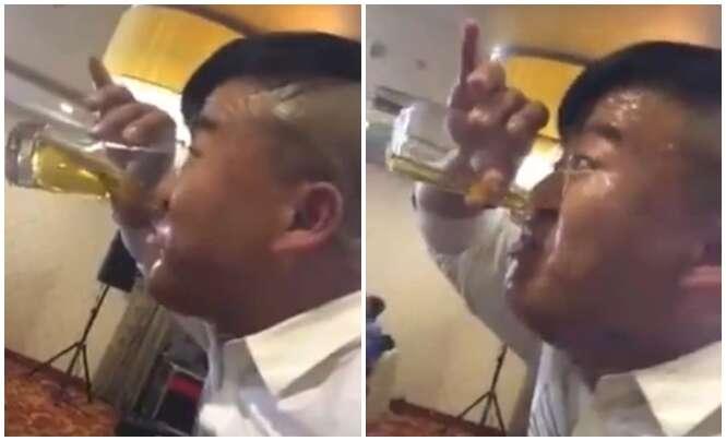 Vídeo bizarro de homem bebendo cerveja pelo nariz faz enorme sucesso na internet