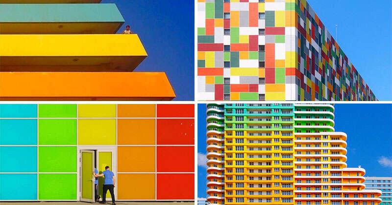 Fotos demonstrando a arquitetura contemporânea e colorida de Instambul