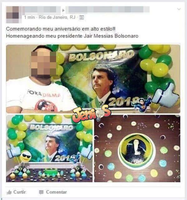 Homem faz festa de aniversário com tema Jair Bolsonaro