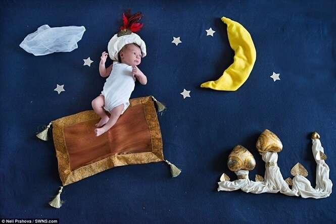 Fotógrafa cria série divertida de imagens colocando bebê em aventuras mágicas