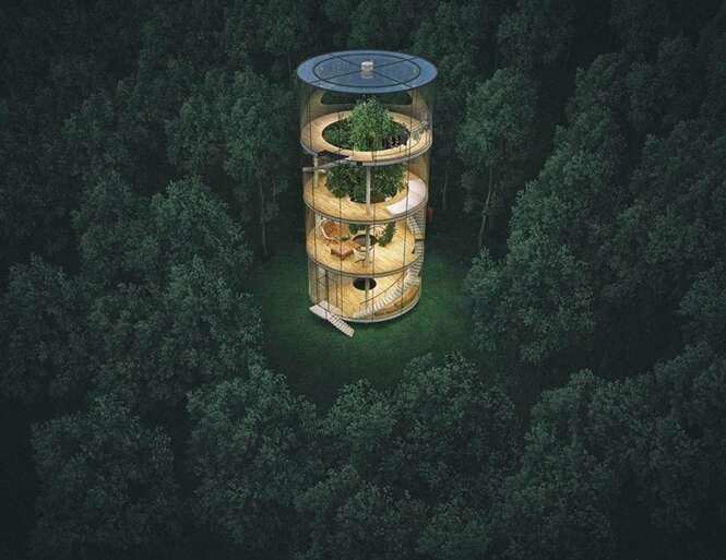 Casa tubular é projetada em torno de uma árvore