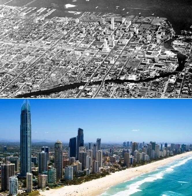 Antes e depois de cidades famosas