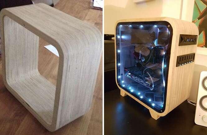 Homem cria gabinete de computador elegante feito de madeira