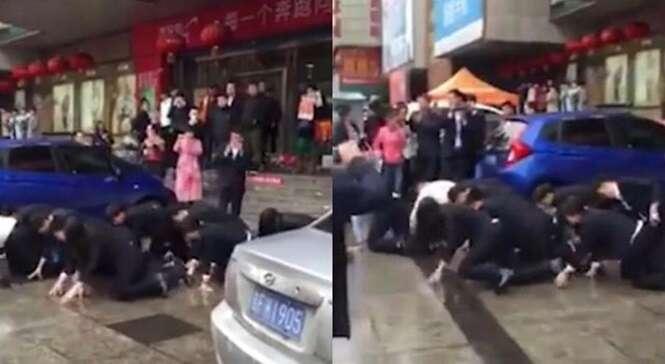 Vídeo flagra funcionários de locadora de veículos engatinhando na rua