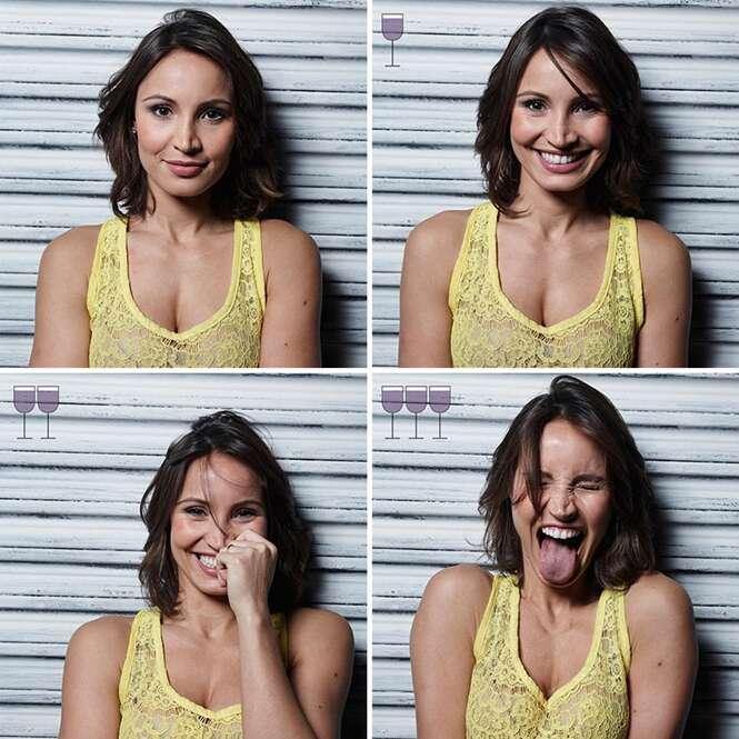Brasileiro registra fotos divertidas de reações de pessoas antes e depois de 3 copos de vinho