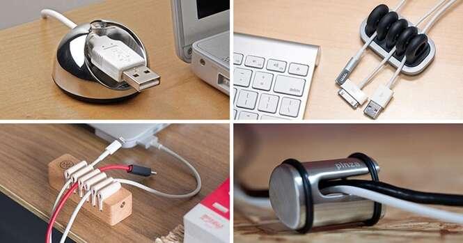 Ideias criativas para organizar os cabos na sua mesa de trabalho