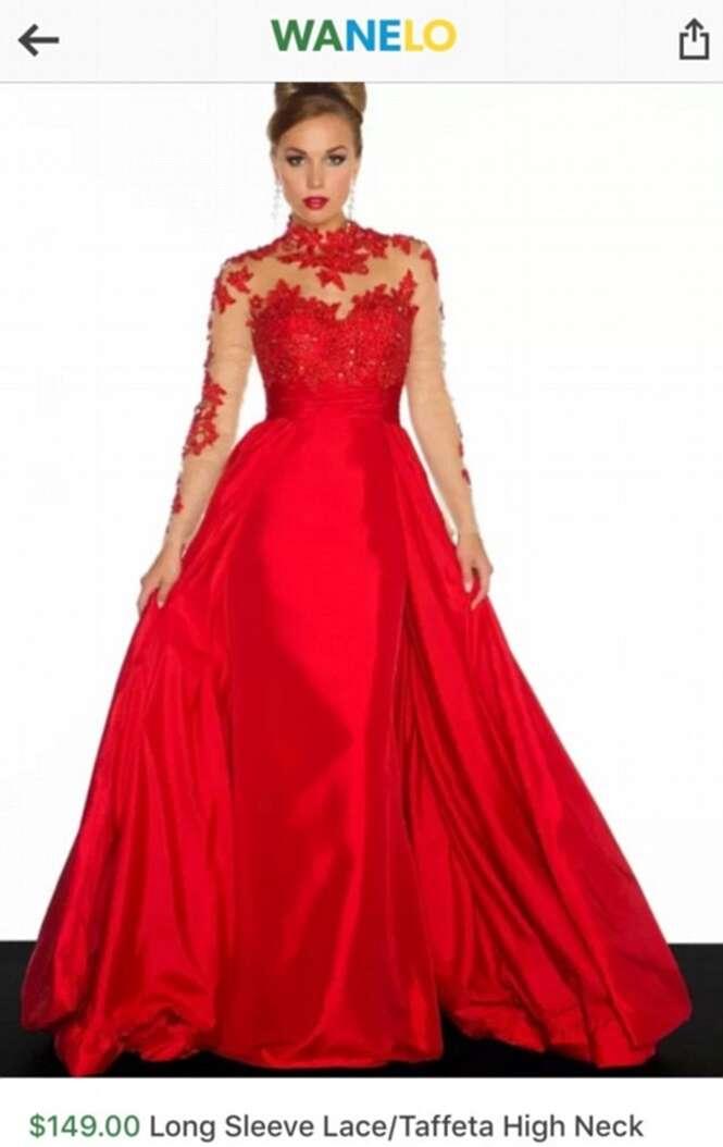 Mulher compra belo vestido pela internet e receber imitação barata