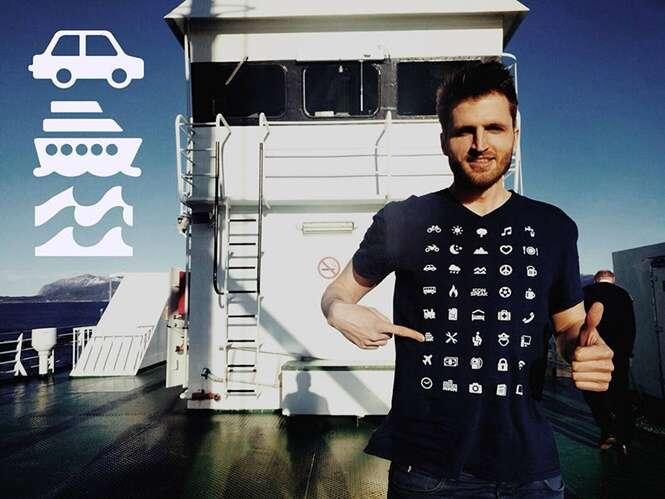 Camisa com ícones de internet te ajuda a se virar em países mesmo sem falar o idioma local