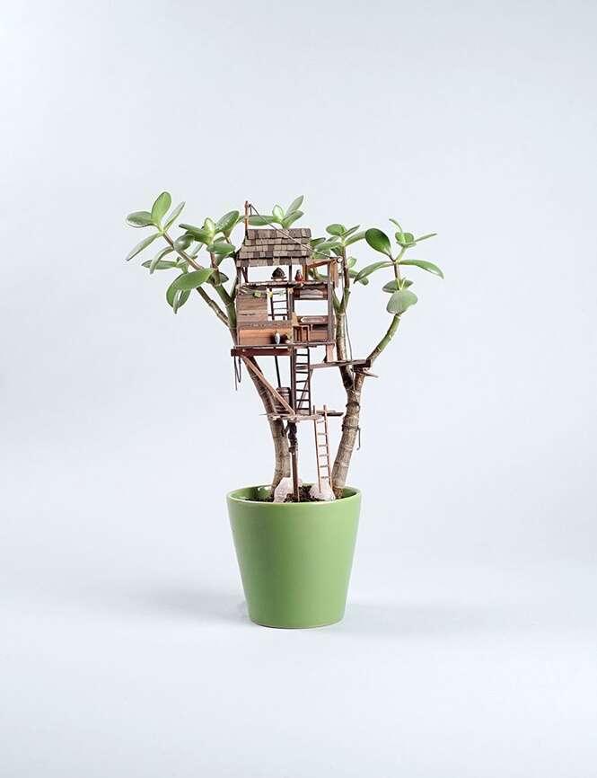 Já pensou ter uma casa de árvore no vaso de plantas da sua sala?