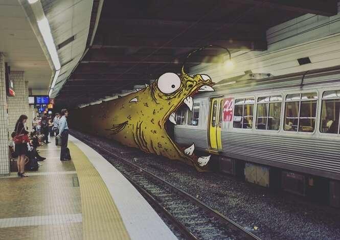 Artista gera imagens divertidas adicionando monstros em situações do dia a dia