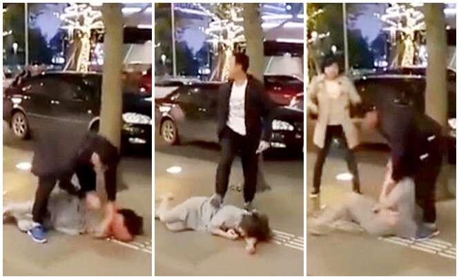 Vídeo chocante mostra homem traído espancando esposa no meio da rua