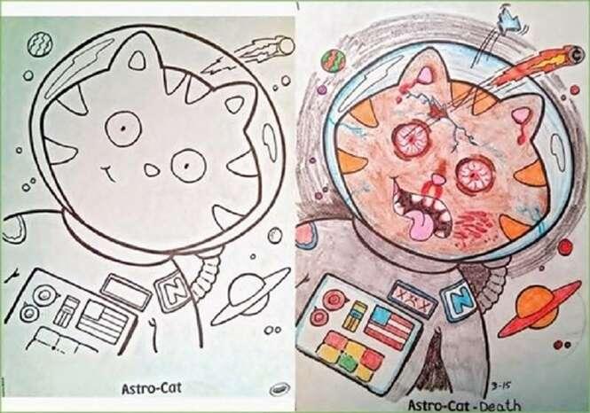 Desenhos para colorir que ganharam outra cara após receberem cores