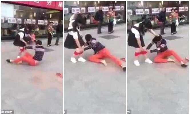 Homem é flagrado puxando calcinha de ex-namorada no meio da rua