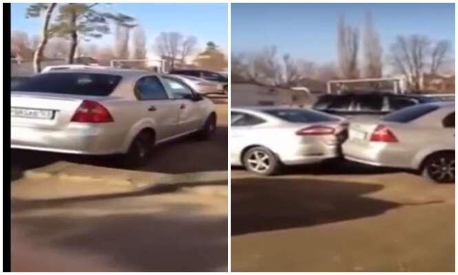 Mulher bate em 17 carros quando tentava estacionar falando ao celular