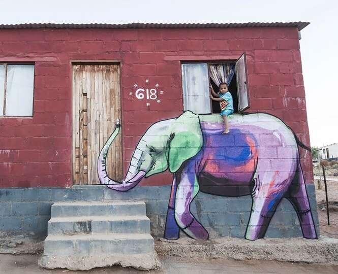 Grafiteiro espalha desenhos de elefantes para trazer esperança a aldeias sul-africanas