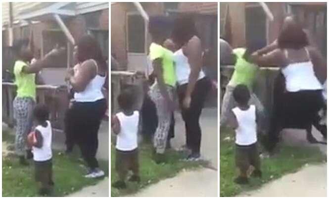 Vídeo chocante mostra momento em que mãe solta bebê de colo e o deixa cair de costas para brigar com outra mulher