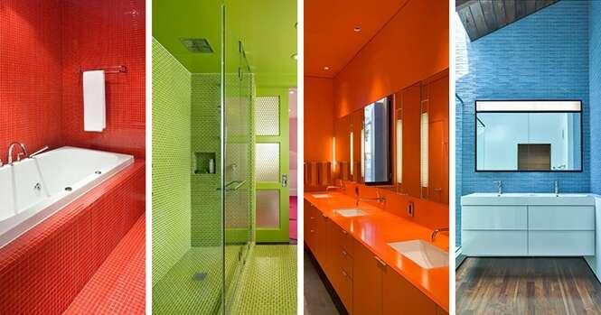 Inspirações para quem quer dar uma cor ao seu banheiro